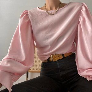Vintage Puff Sleeve Rose Blouse